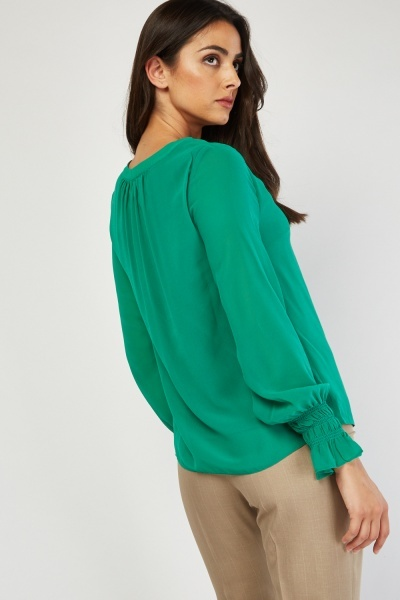 Shirred Sleeve Sheer Green Blouse
