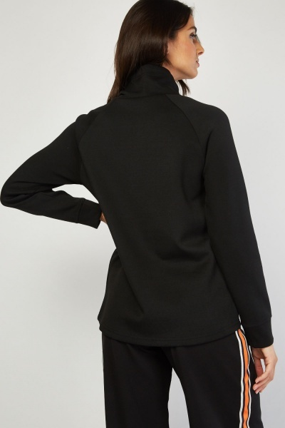 Slouchy High Neck Black Jumper