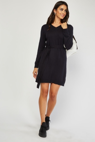 V-Neck Fine Knit Jumper Dress