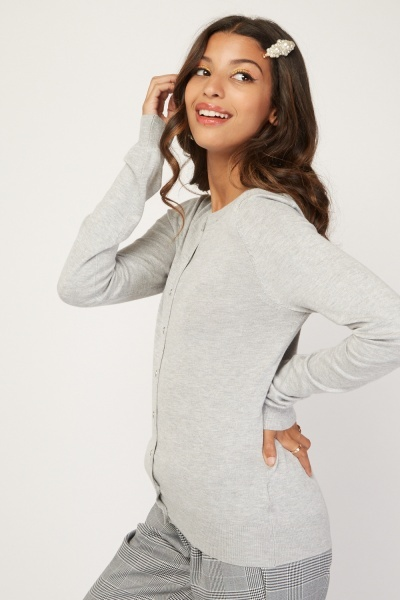 Button Front Plain Knit Cardigan