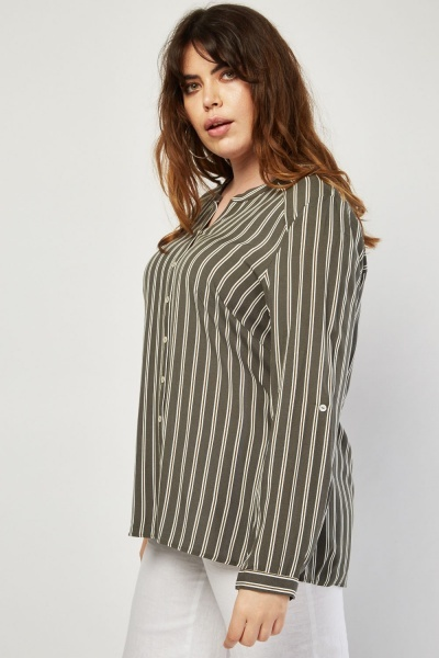 Button Front Vertical Stripe Blouse