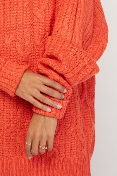 Chunky Cable Knit Long Line Jumper