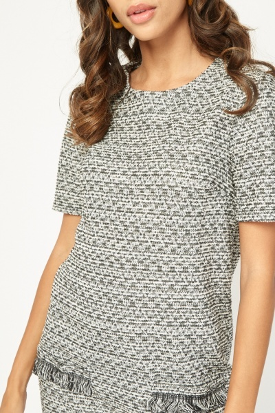 Frayed Edge Tweed Shift Dress