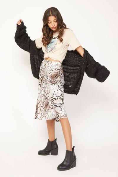 High Waist Python Print Skirt