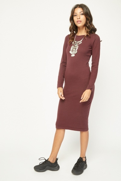 Plain Fine Knit Midi Dress