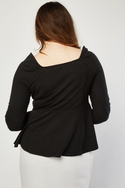 Box Pleated Black Peplum Top
