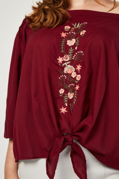 Flower Embroidered Off Shoulder Blouse