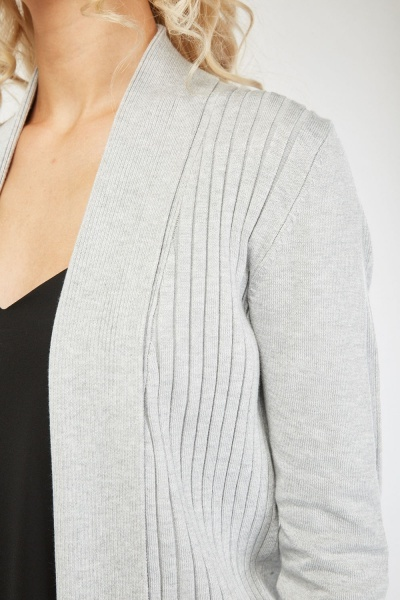 Ribbed Front Knit Cardigan