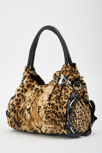 Leopard Print Ruched Hobo Bag