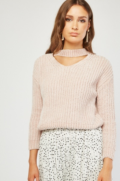 Choker Neck Chenille Knit Jumper