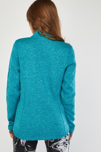 Zip Up Speckled Jersey Knit Jacket