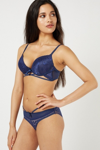 Criss Cross Lace Bra And Brief Set