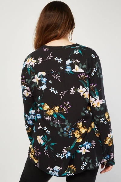 Mix Lily Flower Print Blouse