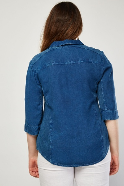 Ribbed Panel Blue Denim Shirt