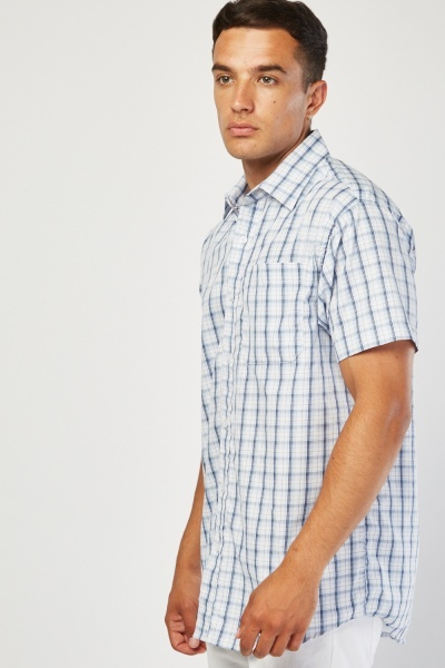Short Sleeve Checkered Shirt