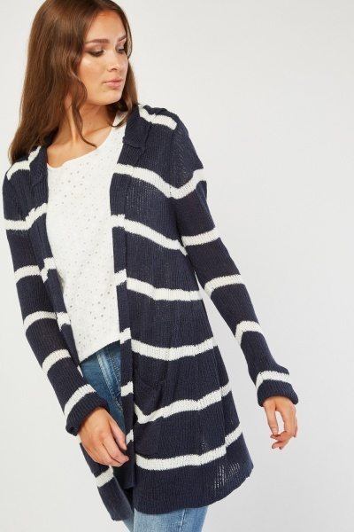 Striped Hooded Knit Cardigan