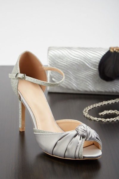 Knotted Sateen Lurex Heeled Sandals