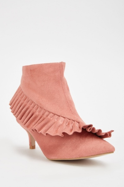 Pleated Ruffle Trim Ankle Boots