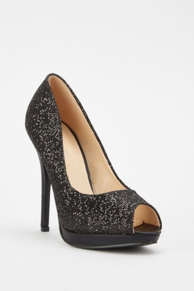 Sequin Overlay Open Toe Heels
