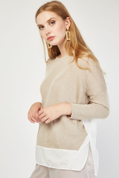 Colour Block Fine Knit Top