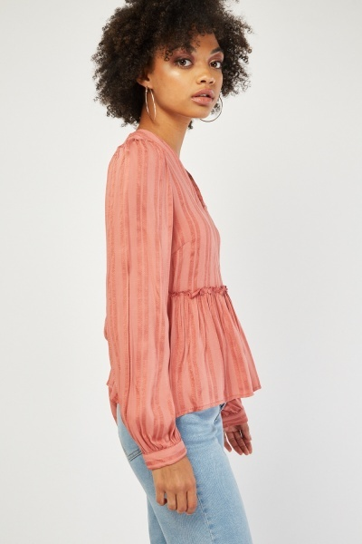Frilly Textured Stripe Blouse