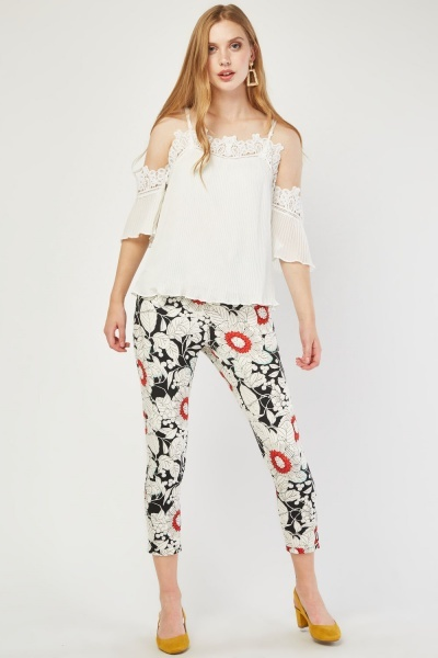 High Waisted Floral Print Trousers