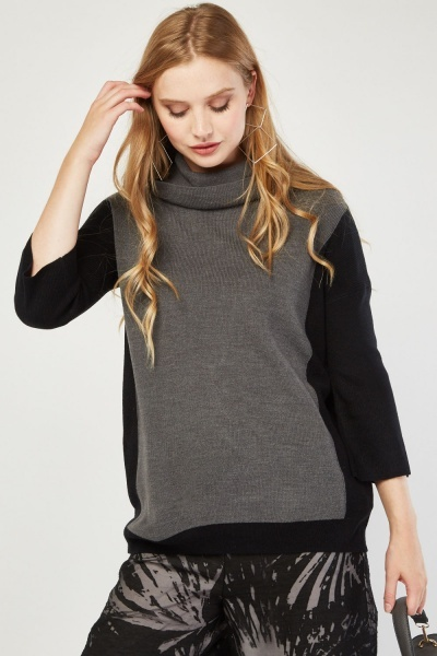 Roll Neck Colour Block Knit Jumper