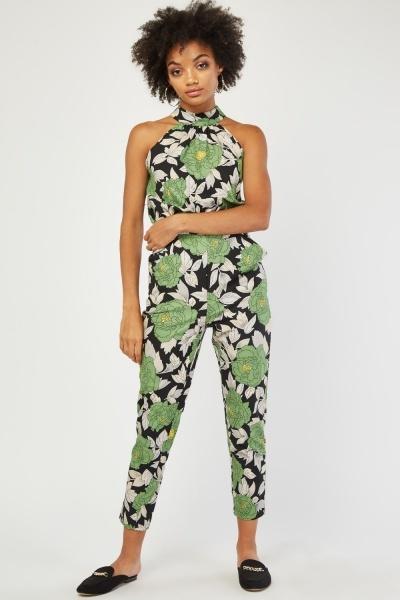 Halter Neck Vintage Floral Jumpsuit
