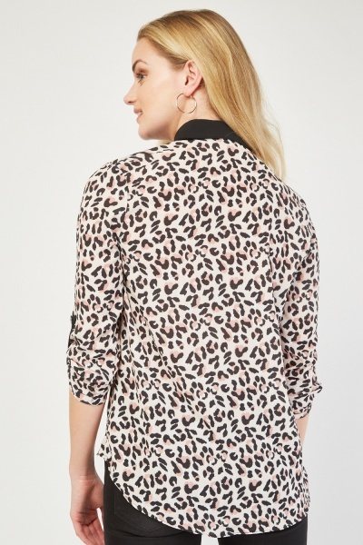 Leopard Print Collared Blouse