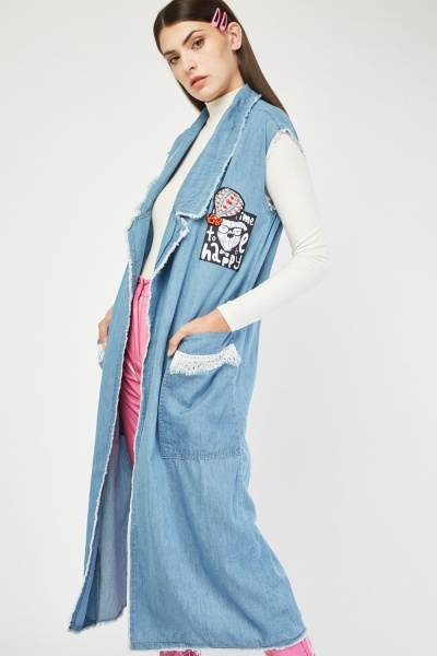 Applique Trim Midi Denim Jacket