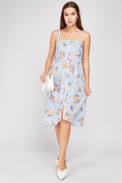 Flower Stripe Strappy Sun Dress