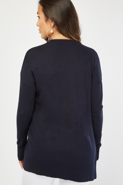 Open Front Plain Knit Cardigan