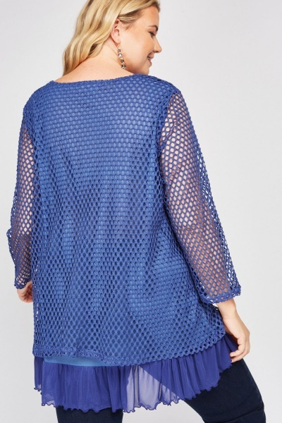 Perforated Flower Pattern Top