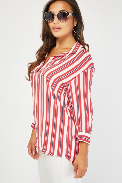 Slit Front Stripe Shirt