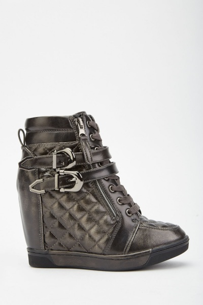 Buckled Quilted Wedged Boots