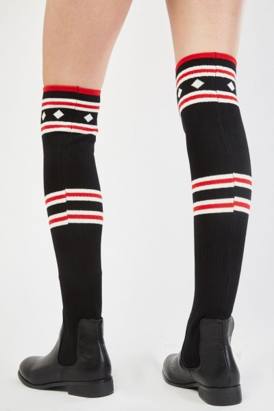 Knee High Sock Overlay Boots