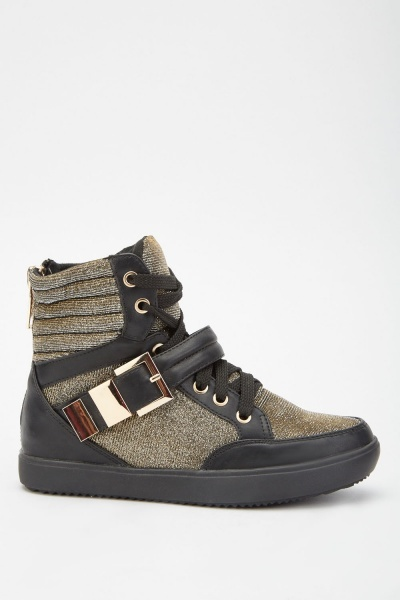 Lurex Quilted High Top Sneakers