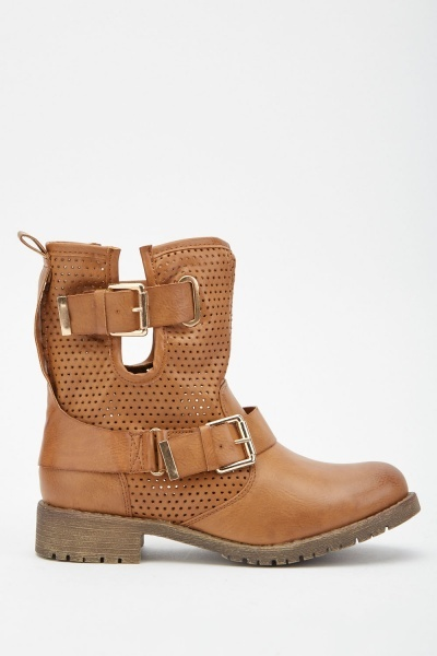 Perforated Buckled Ankle Boots