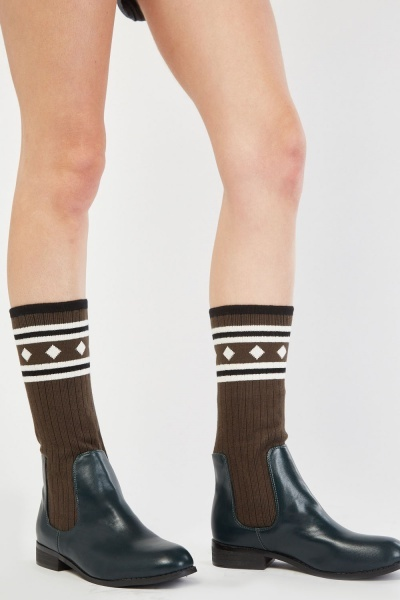 Ribbed Sock Overlay Boots