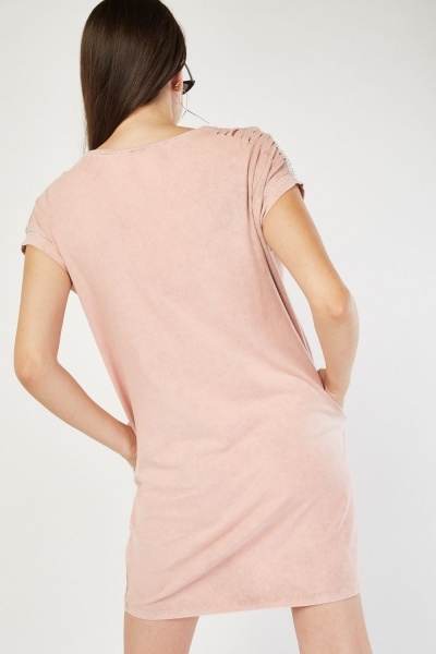 Cut Out Encrusted T-Shirt Dress