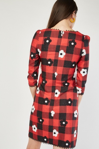 Daisy Checkered Shift Dress