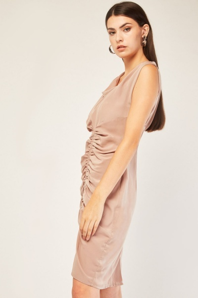 Elasticated Ruched Front Draped Dress