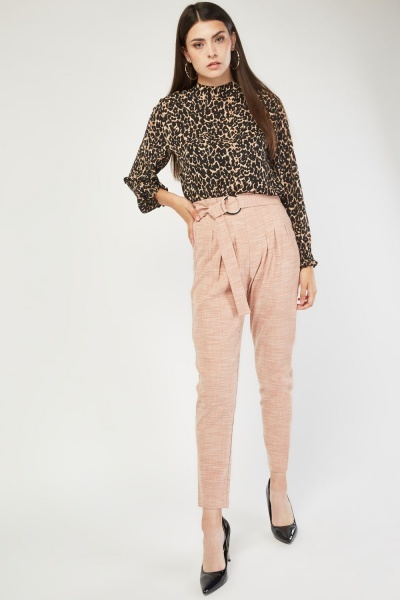 High Waist O-Ring Belted Trousers