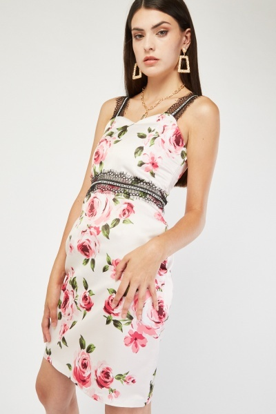 Lace Insert Printed Sweetheart Dress