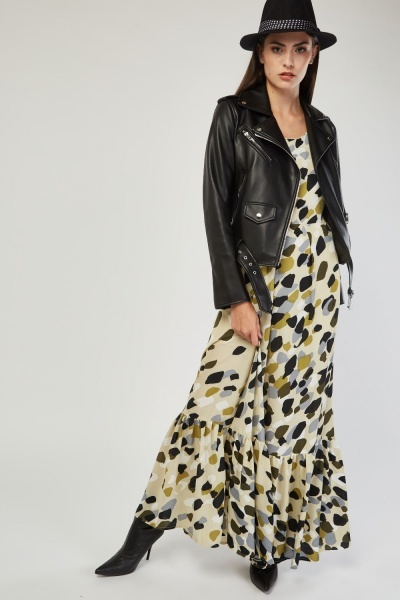 Multi Speckled Frilly Hem Maxi Dress