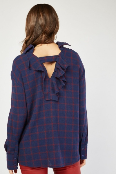 Ruffle Back Windowpane Shirt