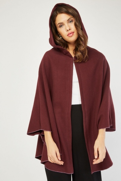 Maroon Hooded Poncho