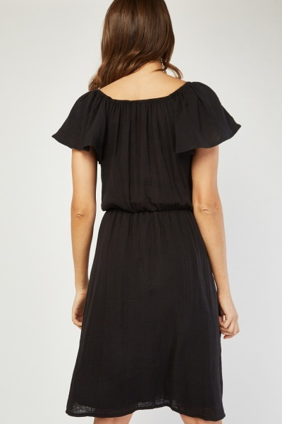 Ruffle Sleeve Skater Dress