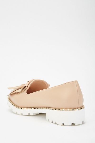 Fringe Tassel Trim Heeled Loafers