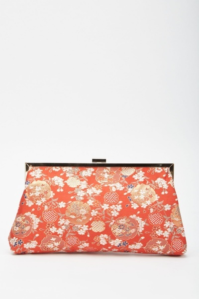 Oriental Embroidered Clip Bag